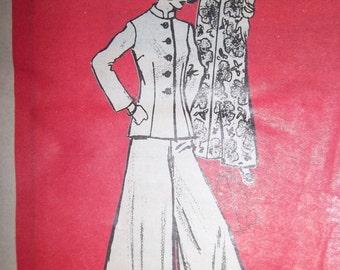 Sale - Vintage - Printed Pattern 4565 - Stand Up Collar Jacket - Wide Leg Pants - Blouse - Skirt - Size 12 - Bust 34 - Uncut Pattern
