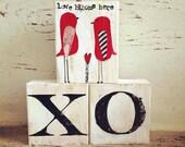 Valentine love blocks, with heart and birds, valentine decor, xo, love blooms here