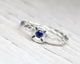 Nautical Navy Blue Sapphire Promise Ring Silver Twisted Rope Lifebuoy Romantic Boho Beach Summer September Birthstone Symbolic - Lifesaver