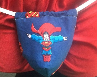 New Mens Blue SUPERMAN G-String Thong Male Comic Book Lingerie Super Hero Underwear