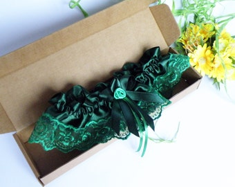 Wedding Bridal Garter with forest green color Lace Embellishment and pale green flower