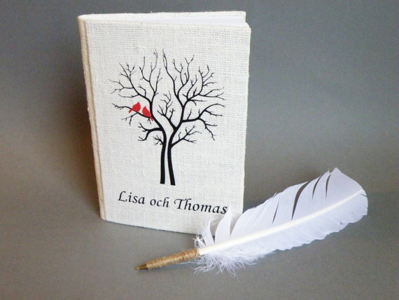 Wedding rustic guest book burlap Linen Wedding guest book Red Cardinals on the Tree and white Feather Wedding pen