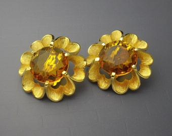 Judy Lee Rhinestone Earrings, Faux Topaz Earrings, Rhinestone Flower Earrings, Statement Earrings, Gold Earrings, Large Earrings