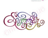 Summer Calligraphy Script Embroidery Design - Large- Instant Email Delivery Download Machine embroidery design