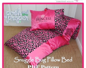 Posh and Proper - Snuggle Bug Pillow Bed PDF Pattern- Instant Download