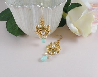 Woven Dangle Earrings Swarovski Crystal in Mint and Cream Pearls
