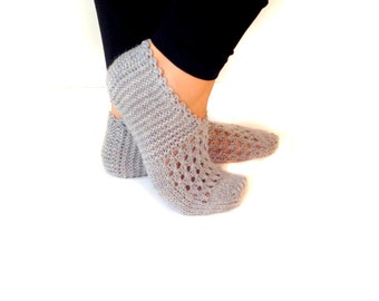 Christmas Gift, Wool Slippers, Grey Slippers, Women Slippers ,Handmade Slippers, House Slippers, Women