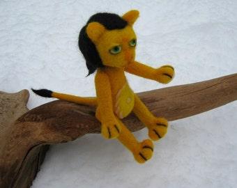 OOAK Little Gold Lion Needle Felted Soft SculptureToy