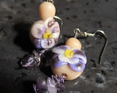 Pansy Flower Earrings Polymer and Purple Amethyst Gemstone Earrings