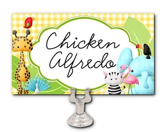 10 Flat Style Cards, Name Place Cards, Food Label Cards, Baby Shower, 1st Birthday, Christening, Baby Animals, Jungle Safari Animals