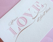 First Kiss- Letterpress Printed Blank Card