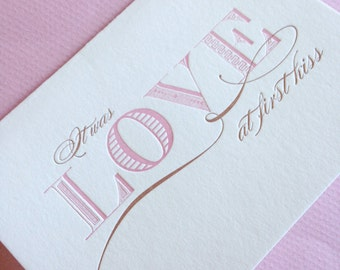 First Kiss- Letterpress Printed Blank Card