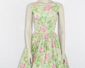 1950s Vintage Dress - Floral Cotton Full Skirt Sundress - 36 / 28 / full