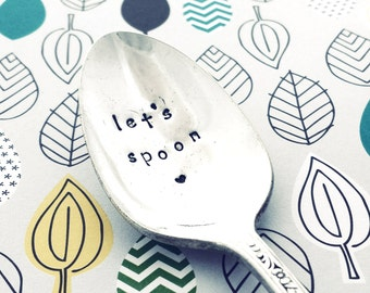 Vintage Hand stamped Spoon ~ LET'S SPOON  ~ from Goozeberry Hill