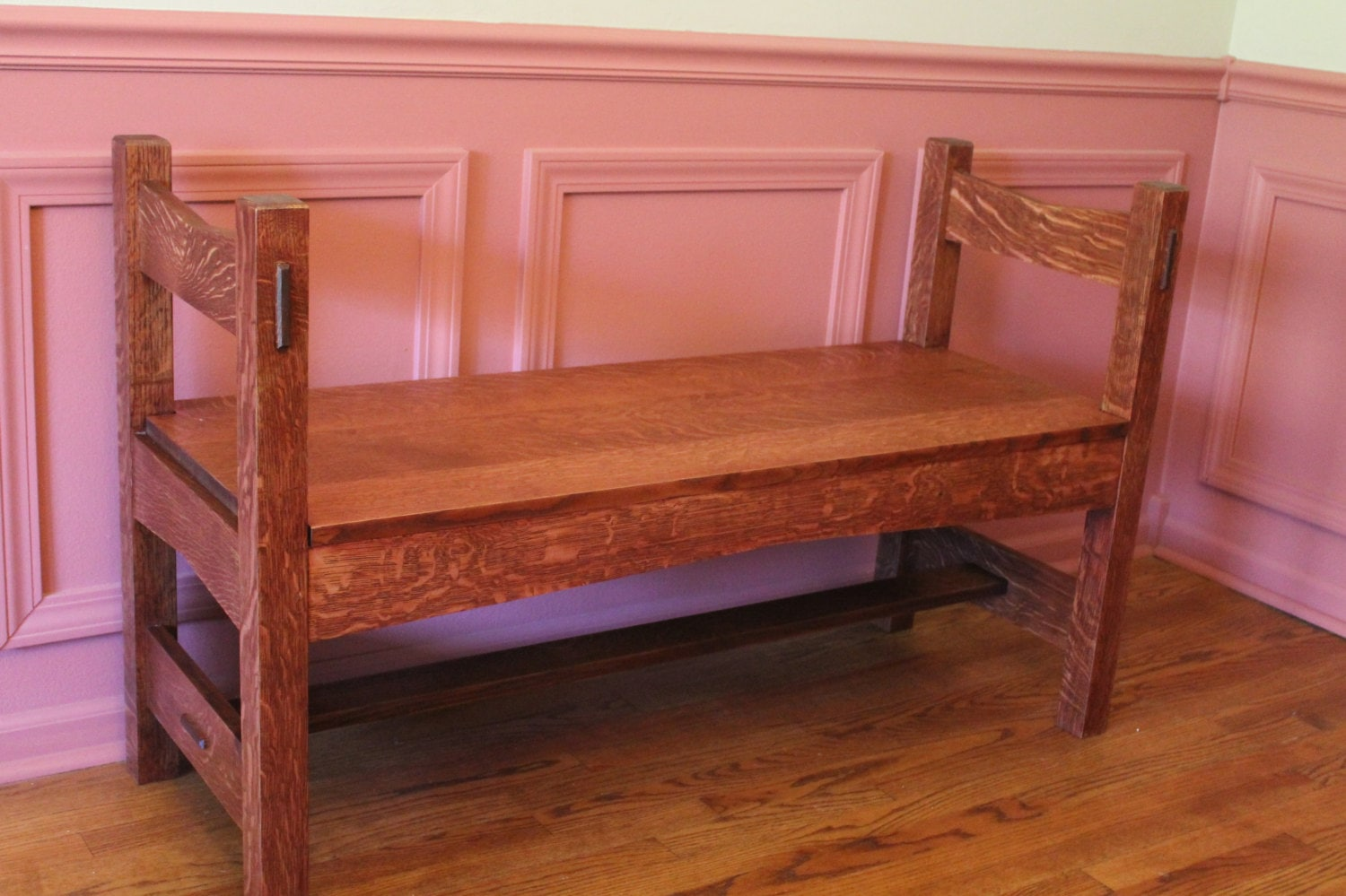 Bargain John's Antiques | Arts and Craft Mission Oak Bench ...