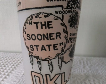 Vintage Souvenir State Glass Tumbler Oklahoma White Frosted with Pink and Black Vacation Travel Retro