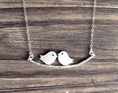 Love Birds on Branch Necklace in Silver - dainty love friendship pendant charm - sterling silver chain - morganprather