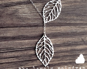 Leaf Lariat - silver grey white dainty leaf pendants - sterling silver chain - Wedding Jewelry - Bridal Jewelry - Simple Everyday - Gift For