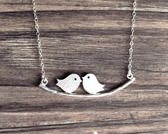 Love Birds on Branch Necklace in Silver - dainty love friendship pendant - Love Friendship - Minimalist - Gift For - The Lovely Raindrop