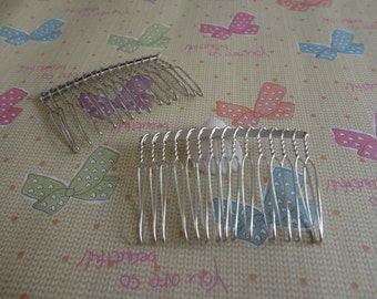 Hair Combs, 20 pcs Nickel Free White K Plated Finish 15 Teeth Barrette Pin 58x39mm