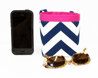 CAR CELLPHONE CADDY, Navy Chevron, Cell Phone Holder, Sunglasses Case, Mobile Accessories, Beach Bag, Pool Bag, Smartphone Case, Golf Gift