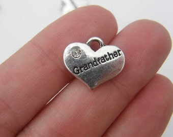 4 Grandfather charms antique silver tone M435