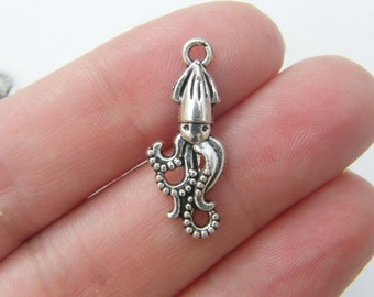 12 Squid charms antique silver tone FF108