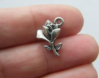 12 Rose charms tibetan silver F32