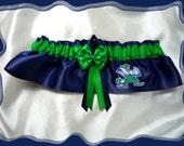 Navy Satin Green Double Bow Wedding Garter Keepsake Made with Notre Dame Fabric