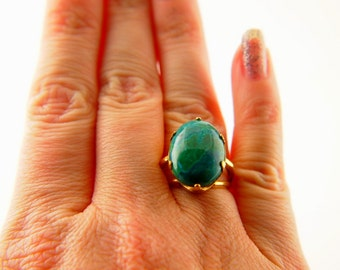 Chrysocolla Ring - Gold Filled - Vintage