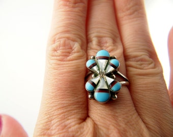 Turquoise, Mother of Pearl & Onyx Ring - Sterling Silver - Vintage