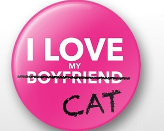 """I Love My Cat 1.25"""" pinback button -Great Holiday Gift"""