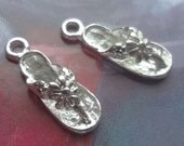 8pcs - Bright silver plated - flower - Flip flop - charms pendants - sea - beach - nautical