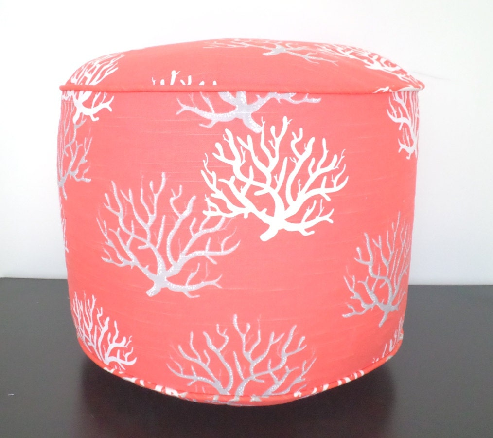Coral Pink Pouf Ottoman 18 Diameter Round Floor Pouf In