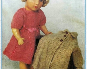 Doll Knitting PATTERN - Coat, Beret, Dress and Panties - 16 - 18 in height doll