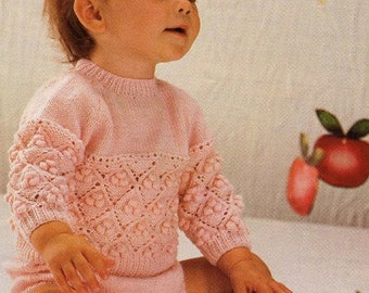 Baby Knitting PATTERN -  Sweater, Pants, Booties/Bootees - download