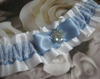 White and Blue Keepsake Garter