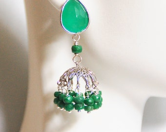 Chandelier Earrings-  Emerald Chandelier Earrings- Green glass drop Dangle Post Earrings-May Birthstone- Jhumka Earrings