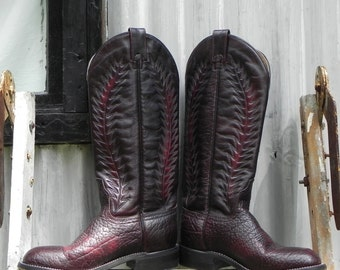 burgundy cowgirl boot, women's size 6.5, made by canada west
