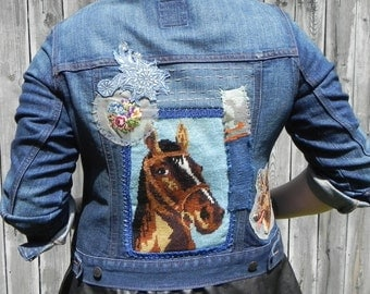 horse needlepoint jean jacket,  women's size medium/large