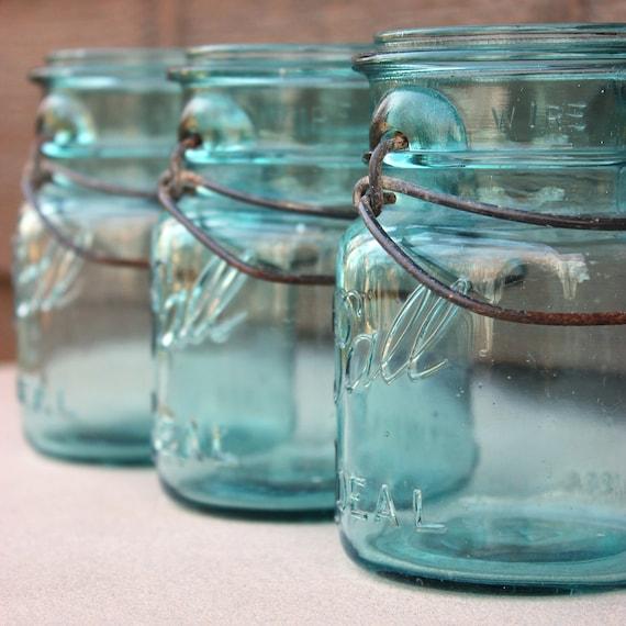 10 Blue Vintage Ball Pint Ideal Mason Jars without Glass Lids