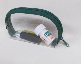 Clear Vinyl Zip Bag Small,Vegan Clear Zip Toiletry Bag, Zip Clear Bag, Vegan Small Clear Bag, Cosmetic Bag, Clear Cosmetic Bag, Toiletry Bag