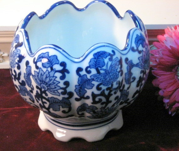 Vintage China Blue Seymour Mann Flower Pot Or Planter Blue