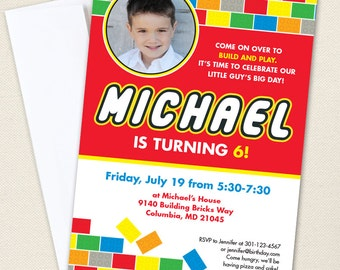 Building Bricks Party Photo Invitations - Professionally printed *or* DIY printable