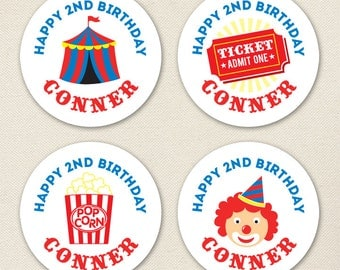 Carnival or Circus Party - Custom Stickers - Sheet of 12 or 24