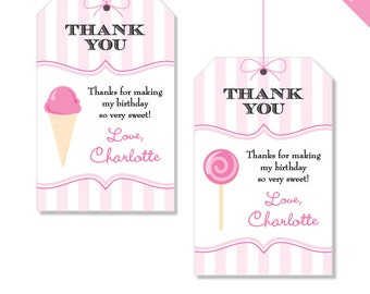 Sweet Shoppe Party - Personalized DIY printable favor tags