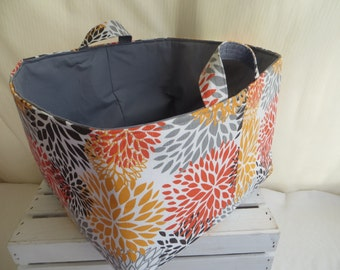Fabric organizer, storage bin, Premier Prints Blooms Slub Chili Pepper 13.5w x 15d x 10.5h with gray lining