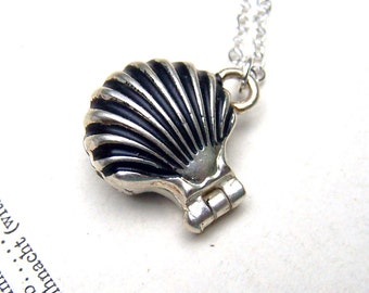 Prayer Box Necklace - Little Tiny Wish Box Locket Sea Shell