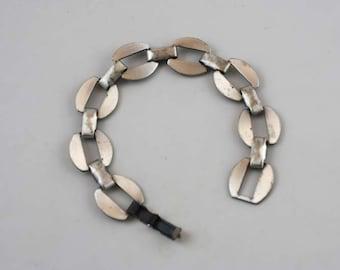 Vintage Silver Toned -Copper Linked Bracelet