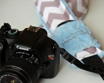 Business Name Chevron Cross-body Camera Strap Set - PICK color CANON Nikon